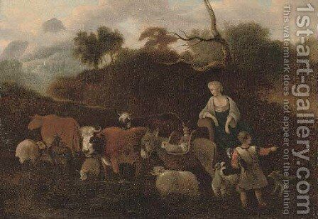 An Italianate landscape with a shepherd and shepherdess and their cattle by (after) Simon Van Der Does - Reproduction Oil Painting