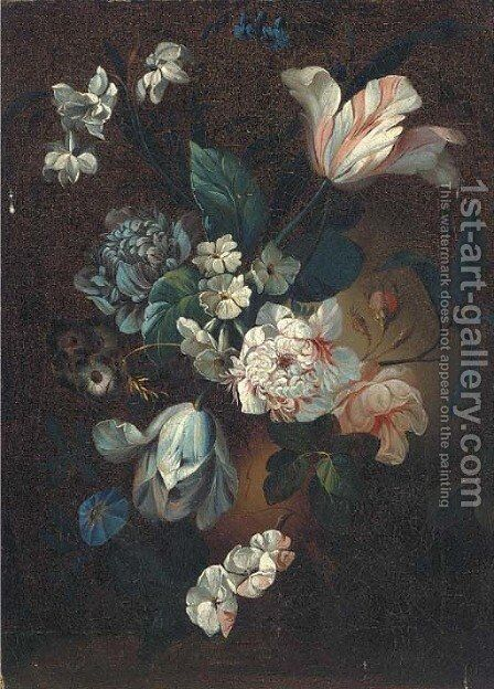 Parrot tulips, chrysanthemums, morning glory and other mixed flowers in an urn by (after) Simon Pietersz. Verelst - Reproduction Oil Painting