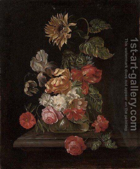 Roses, parrot tulips, an iris, anemones and a sunflower in a glass vase on a stone ledge by (after) Simon Pietersz. Verelst - Reproduction Oil Painting