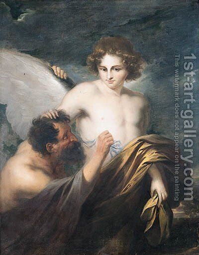 Daedalus attaching wings to Icarus by (after) Dyck, Sir Anthony van - Reproduction Oil Painting