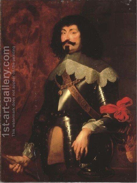 Portrait of a military commander, three-quarter-length, in armour, with the Order of the Golden Fleece, possibly Ottavio Piccolomoni (1599-1656) by (after) Dyck, Sir Anthony van - Reproduction Oil Painting