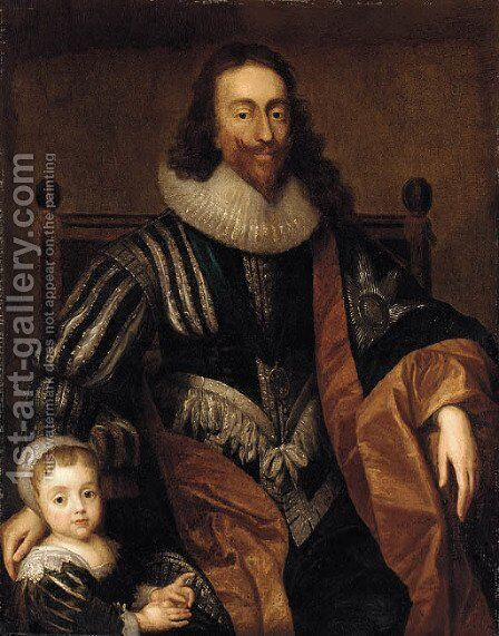Portrait of Charles I, seated, three-quarter-length, and James II as a youth nearby by (after) Dyck, Sir Anthony van - Reproduction Oil Painting