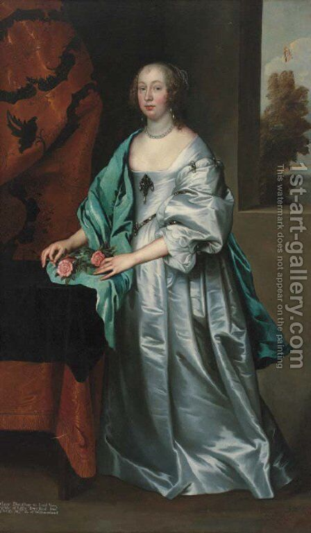 Portrait of Mary, Countess of Westmorland, full-length, in a grey satin dress and a blue wrap, with a sprig of blossom in her right hand by (after) Dyck, Sir Anthony van - Reproduction Oil Painting