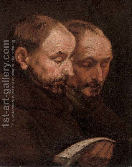 Two monks reading by (after) Dyck, Sir Anthony van - Reproduction Oil Painting