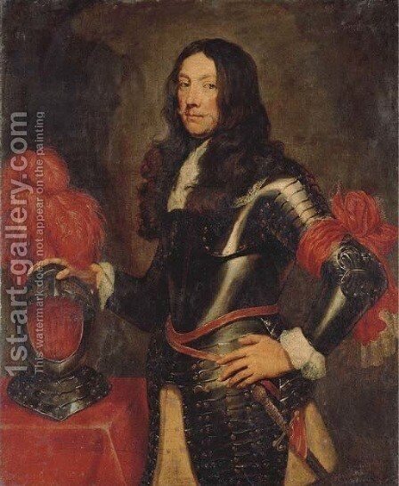 Portrait of a gentleman in armour, three-quarter-length, with a plumed helmet on a table beside by (after) Dyck, Sir Anthony van - Reproduction Oil Painting