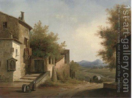 Evening in a Mediterranean village by (after) Sir Augustus Wall Calcott - Reproduction Oil Painting