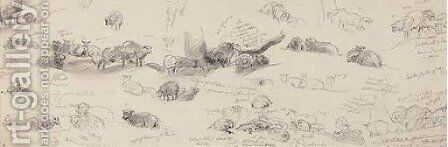 Studies of sheep by (after) Sir Edwin Henry Landseer - Reproduction Oil Painting