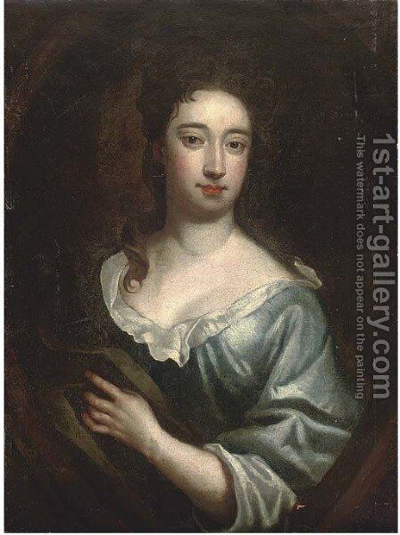 Portrait of a lady, bust-length, in a blue dress and brown wrap, feigned oval by (after) Kneller, Sir Godfrey - Reproduction Oil Painting