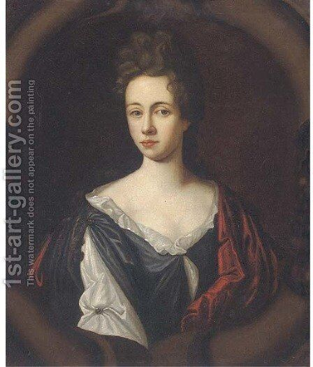 Portrait of a lady, half-length, wearing a white and black dress with a red wrap, in a sculpted cartouche by (after) Kneller, Sir Godfrey - Reproduction Oil Painting