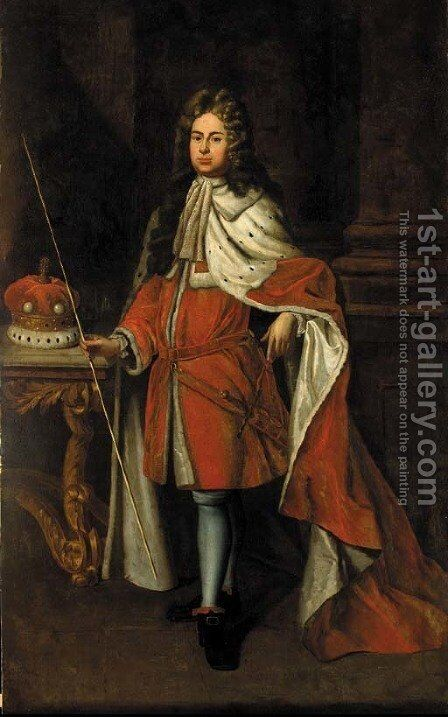 Portrait of George Granville, later Lord Lansdown, full-length, in peer's robes, beside a column, holding a rod in his right hand by (after) Kneller, Sir Godfrey - Reproduction Oil Painting