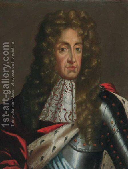 Portrait of James II (1633-1701), quarter-length, in armour and an ermine-lined robe and lace jabot by (after) Kneller, Sir Godfrey - Reproduction Oil Painting