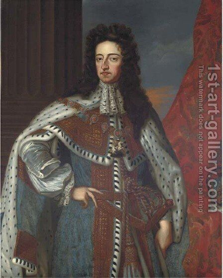 Portrait of King William III (1650-1702), three-quarter-length, in an ermine cloak; and Portrait of Queen Mary II (1662-1694) by (after) Kneller, Sir Godfrey - Reproduction Oil Painting