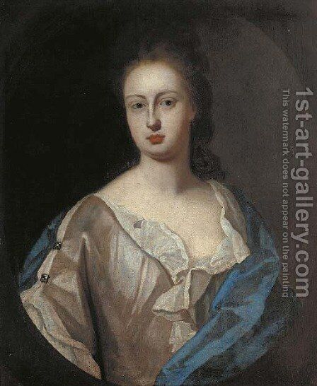 Portrait of Lady Powis, bust-length, in a white dress and blue wrap, feigned oval by (after) Kneller, Sir Godfrey - Reproduction Oil Painting