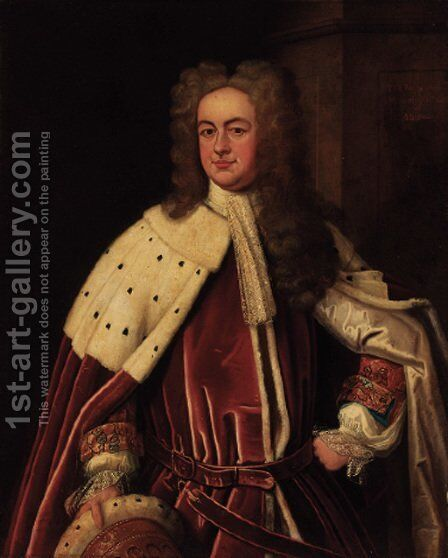 Portrait of Montague Bertie, Earl of Abingdon (1740-1799), three-quarter-length, in peer's robes by (after) Kneller, Sir Godfrey - Reproduction Oil Painting