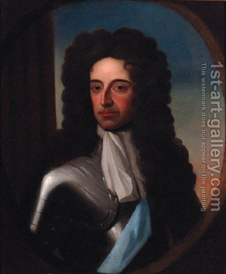 Portrait of William III, half-length, in armour, feigned oval by (after) Kneller, Sir Godfrey - Reproduction Oil Painting