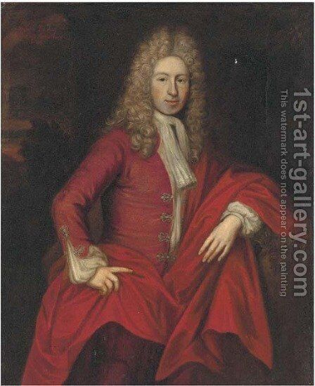 Portrait of William Rawson, three-quarter-length, in a red coat by (after) Kneller, Sir Godfrey - Reproduction Oil Painting