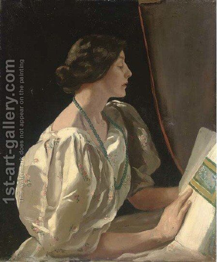 Portrait of a lady by (after) Sir John Lavery - Reproduction Oil Painting