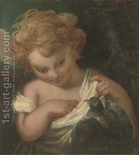 A young girl with a bird by (after) Sir Joshua Reynolds - Reproduction Oil Painting