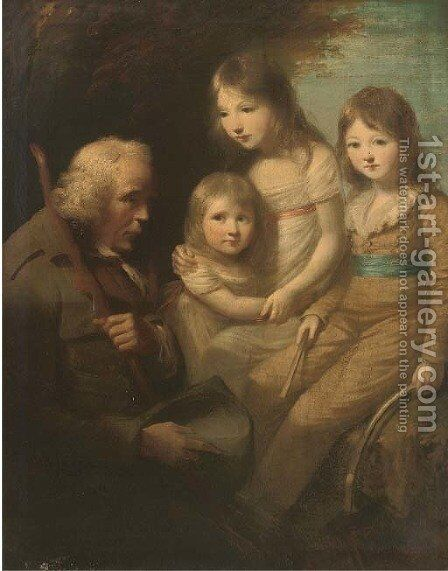 Group portrait of three children, full-length, in a garden with a beggar by (after) Sir Joshua Reynolds - Reproduction Oil Painting
