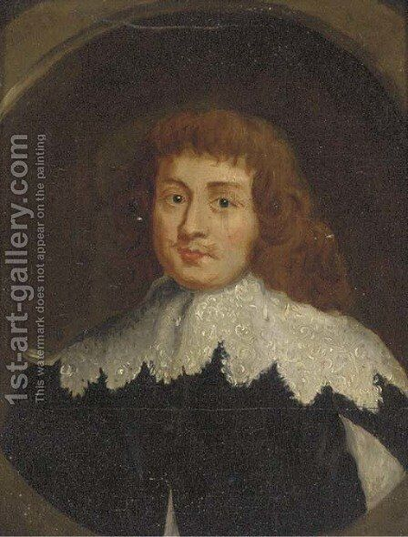 Portrait of a gentleman, bust-length, in a black jacket and a white collar, in a feigned oval by (after) Sir Peter Lely - Reproduction Oil Painting