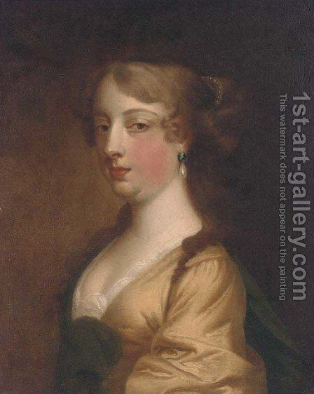 Portrait of a lady, bust-length, in a yellow dress and blue wrap by (after) Sir Peter Lely - Reproduction Oil Painting
