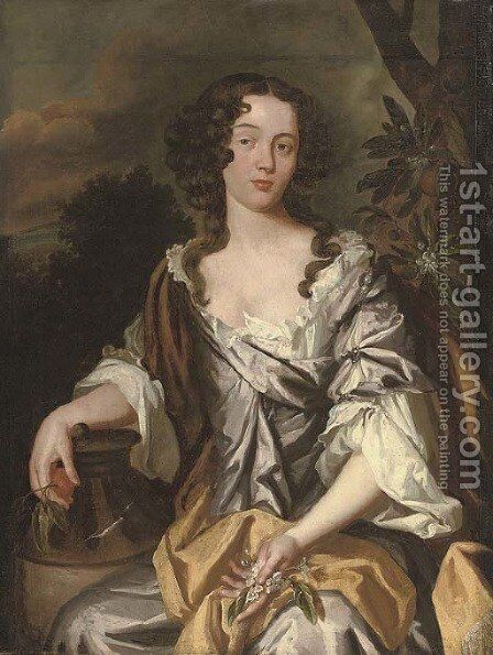 Portrait of a lady, seated, three-quarter-length by (after) Sir Peter Lely - Reproduction Oil Painting