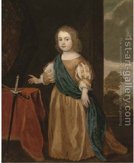 Portrait of Sir Nicholas Pelham as a young boy by (after) Sir Peter Lely - Reproduction Oil Painting