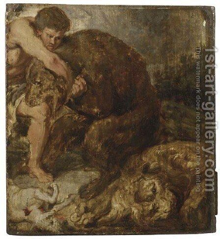 Hercules and the Nemean Lion by (after) Sir Peter Paul Rubens - Reproduction Oil Painting