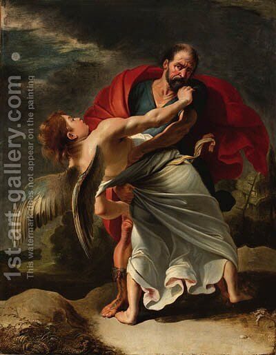 Jacob wrestling with the Angel by (after) Sir Peter Paul Rubens - Reproduction Oil Painting
