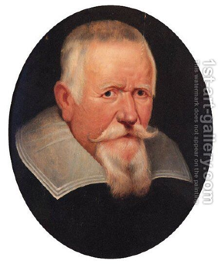 Portrait of an elderly gentleman, bust-length, in a black coat and a lawn collar by (after) Sir Peter Paul Rubens - Reproduction Oil Painting