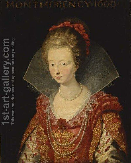 Portrait of Charlotte-Marguerite de Montmorency, Princess of Conde , bust-length, in a red dress with slashed sleeves and a white ruff, and red ribbon by (after) Sir Peter Paul Rubens - Reproduction Oil Painting
