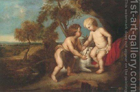 The Christ Child and the Infant Saint John the Baptist in a landscape by (after) Sir Peter Paul Rubens - Reproduction Oil Painting