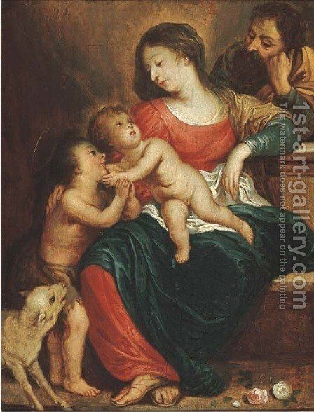 The Holy Family with the Infant Saint John the Baptist 4 by (after) Sir Peter Paul Rubens - Reproduction Oil Painting