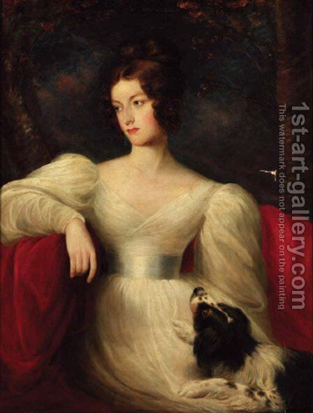 Portrait of a lady, three-quarter-length, in a white dress, seated with a dog by her side, in a landscape by (after) Lawrence, Sir Thomas - Reproduction Oil Painting