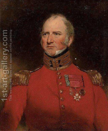 Portrait of Sir Stephen Remnant Chapman (1776-1851), half-length, in scarlet uniform with gold epaulets and medals by (after) Lawrence, Sir Thomas - Reproduction Oil Painting