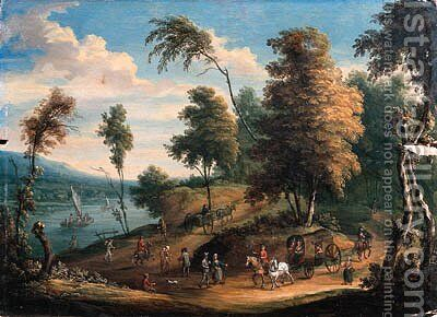 A Dutch river Landscape with Wagons and Travellers on horseback by (after) Theobald Michau - Reproduction Oil Painting