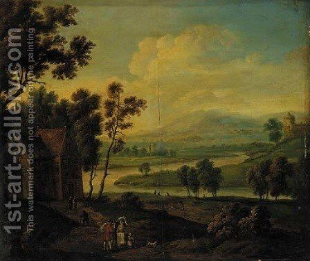 A river landscape with peasants meeting on a track near a cottage by (after) Theobald Michau - Reproduction Oil Painting