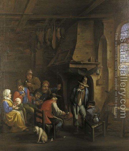 Peasants gathered at a fireside in an interior by (after) Dirk-Theodor Helmbrecker - Reproduction Oil Painting