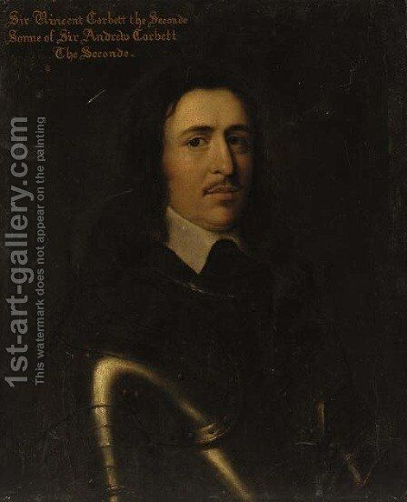 Portrait of Sir Vincent Corbett, bust-length, in armour by (after) Davis, Theodore Russell - Reproduction Oil Painting