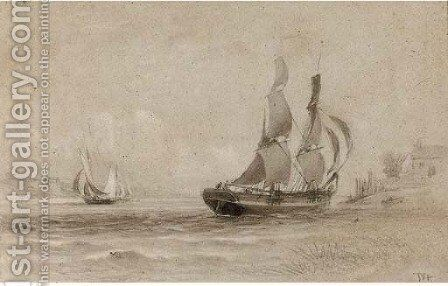 Shipping in an estuary by (after) Thomas Bush Hardy - Reproduction Oil Painting