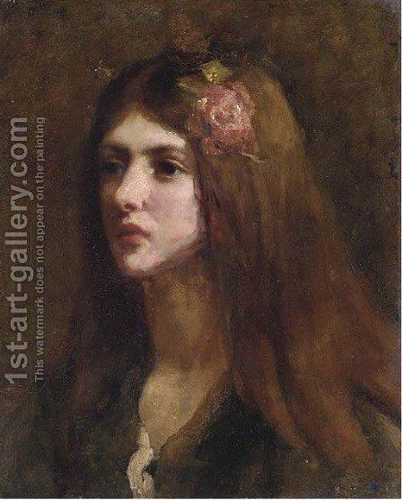 Portrait of a girl by (after) Thomas Cooper Gotch - Reproduction Oil Painting