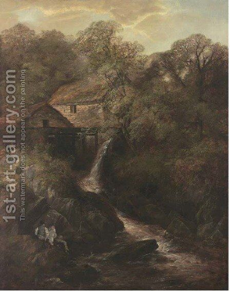 The old mill by (after) Thomas Creswick - Reproduction Oil Painting
