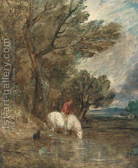 A wooded landscape with a boy watering a grey pony by (after) Gainsborough, Thomas - Reproduction Oil Painting