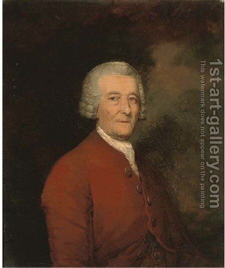 Portrait of a gentleman, bust-length, in a red coat by (after) Gainsborough, Thomas - Reproduction Oil Painting