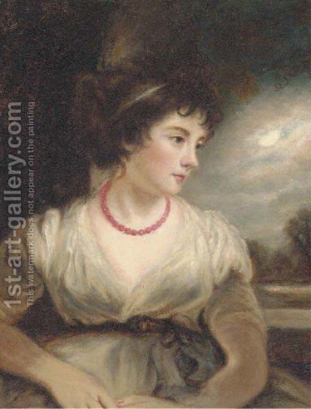 Portrait of a girl, half-length, in a white dress, a moonlit landscape beyond by (after) Gainsborough, Thomas - Reproduction Oil Painting