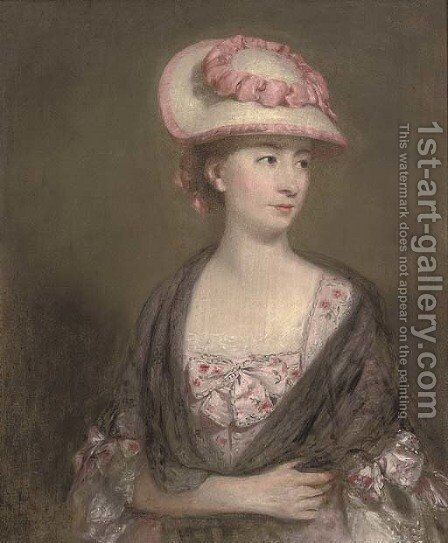 Portrait of a lady, half-length, in a pink dress and hat by (after) Gainsborough, Thomas - Reproduction Oil Painting