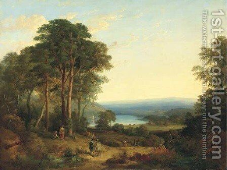 An extensive wooded landscape, with figures in the foreground and a lake beyond by (after) Gainsborough, Thomas - Reproduction Oil Painting