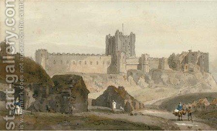 Travellers before Bamburgh Castle by (after) Girtin, Thomas - Reproduction Oil Painting