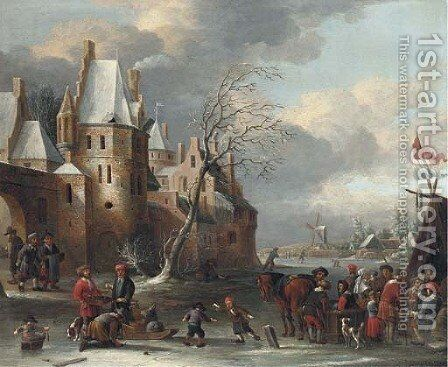 A frozen river landscape with skaters by a walled town by (after) Thomas Heeremans - Reproduction Oil Painting
