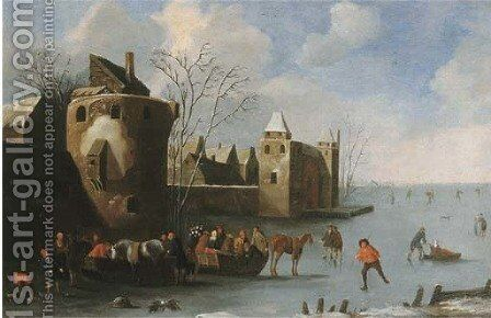 Townsfolk skating and sledging on a frozen moat, a city beyond by (after) Thomas Heeremans - Reproduction Oil Painting